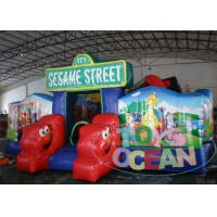 China Sesame Street Theme Inflatable Cartoon Obstacle Playground For Kids wholesale
