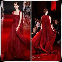 2014 Elie Saab Red Prom Party Gowns Sweep Train Chiffon Formal Long Evening Party Dresses