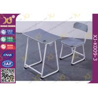 China Plastic Seat Customized Height Student Desk And Chair Set In Grey Color wholesale