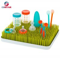 China Rectangle plastic countertop baby bottle drying rack green grass rack wholesale