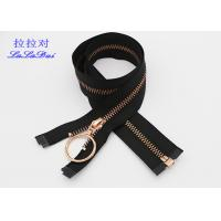 Buy cheap Rose Gold 30 Inch Metal Coat Zipper , Long Open Ended Zips With Auto Lock Slider And Hook Pull from wholesalers