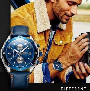 China Megir Fashion Men Women Genuine Leather Band Chronograph Luminous 3ATM Waterproof Calendar Quartz Watches  2074 wholesale