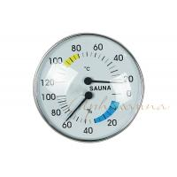 China Stylish Type Round Chrome Trim Deluxe indoor Thermometer Hygrometer for Sauna wholesale