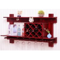 China Wall Mounted Wooden Wine Rack And Glass Holder Cabinet , Floating Wine Glass Rack Shelf wholesale