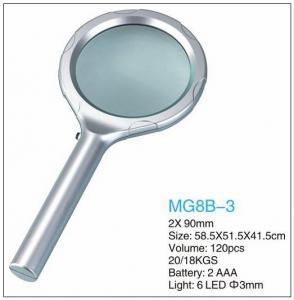 China Dome Handheld LED Pocket Magnifying Glass 2x Power Eco Friendly Plastic wholesale