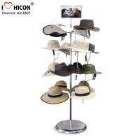 China Free Standing Metal Hat Display Stand 7-Layer Rotating Cap Rack For Retail Store wholesale