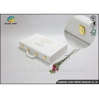 China Elegant White Leather Packaging Box Delicate Design With Lock Closure wholesale