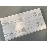 China Flat 25cm Waterproof Wall Panels Wooden Pattern With Double Silver Lines wholesale