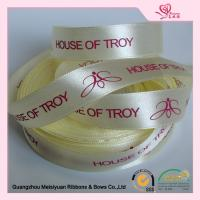 Wholesale Luster Surface Yellow Polyester  Custom Printed Ribbon With Red Print logo  5 / 8