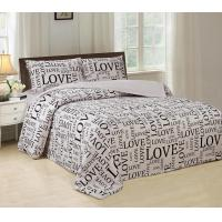 China Silky Bed Sheet 4 Piece Bedding Set Luxurious With English Letters Printed wholesale