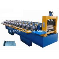 China Standing Seam Steet Boltless Roof Panel Roll Forming Machine Hydraulic Cutting Type wholesale