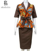 China Brown Suit Women African Print Dresses Half Sleeve Batik Fabric Summer Women wholesale