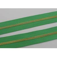 China Luggage / Handbags Long Chain Zipper 5# / 8# Gold Teeth 50m In One Roll Green Tape wholesale