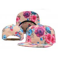 Quality Flowers Printing Flat Brimmed Baseball Caps , Six Panel Baseball Cap for sale