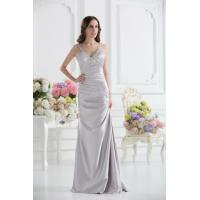 China Sexy Silver V Neckline Strap Mermaid Long Evening Dress Prom Gowns Beads wholesale