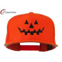 China Embroidered Acrylic Wool Fitted Baseball Caps , Orange Halloween Pumpkin Face Design wholesale