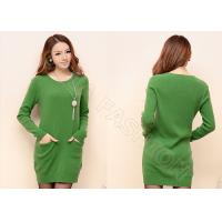 China Green Crew Neck Womens Cable Knit Sweaters Long Pullover Dress with Pockets wholesale