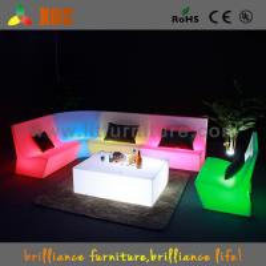16 Colors Change Plastic LED Sofas , PE Night Club LED Furniture