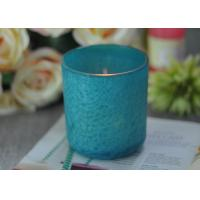 China Beautiful Wedding Gift Feather Painted Glass Candle Holders Decorative Candle Jars wholesale