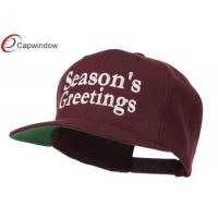 China Plastic Snap Fitted Baseball Caps Embroidered Maroon Seasons Greetings wholesale