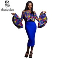 China Women ' S Latest African Fashion Dresses Long Sleeve Pullover Off Shoulder wholesale