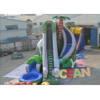 China Coconut Tree Inflatable Outdoor Water Slide / Green Inflatable Pool Games 20Ft wholesale