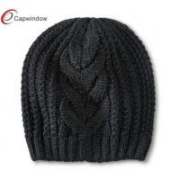 China Women Heavy Knitted Beanie Winter Hats , Colored Pure Acrylic / Woolly Hat wholesale