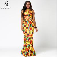 China Ankara Hollow Out Halter African Print Maxi Dresses , Latest African Fashion Dresses wholesale