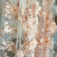 China Luxury 3D Floral Beaded Bridal Lace Fabric , Scalloped Edge Wedding Gown Lace Fabric wholesale