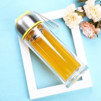 China Environmental 350ml Double Wall Glass Bottle With Tea Infuser , Easy Cleaning wholesale