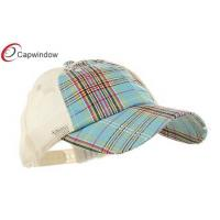 Quality Cotton Polyester Trucker Mesh Cap Blue Unstructured Low Profile Plaid for sale