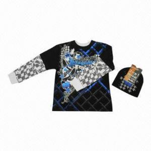 China Yarn Dye Long-sleeved Stripes LS Top Printed Hangdown with Beanie wholesale
