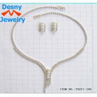 China American Standard Diamond Crystal Necklace and Earring Set Designs with Silver Plated wholesale