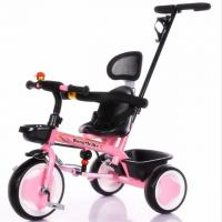 China Hot Sell Children High Quality Baby Tricycle with pushbar pink color wholesale
