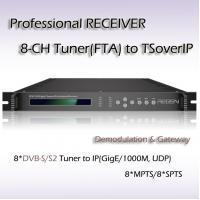 China IPTV Gateway 8*DVB-T/T2 TO IP  Gateway Professional Receiver IP output in 8*MPTS or 8*SPTS, on UDP protocol on sale