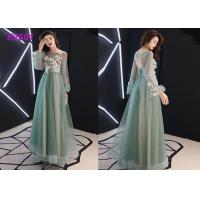 China Floral party dress green pink blue colors long puff sleeves tulle evening dress wholesale