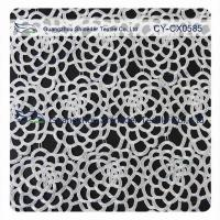 China Antique Stretch Polyester Lace Fabric / Dressmaking Fabric With White Flower wholesale