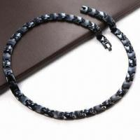 China Stainless Steel Necklace, Men's Healthy Link Magnetic, Black Gold, Rose Gold Color, 4-in-1 wholesale
