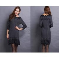 China Three Quarter Sleeves Womens Wool Skirts With Lotus Leaf Shaped Neck wholesale