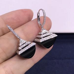 "China Graphic Lines 4.2ct 3cm 1.1"" 18K Gold Diamond Earrings wholesale"