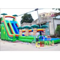 China High Giant Tropical Coconut Tree Inflatable Water Slide With Pool Two Lane wholesale