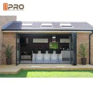 China aluminium bi folding patio doors Aluminium Interior Temporary Indoor Folding Door For Balcony Sound And Weather Proof on sale