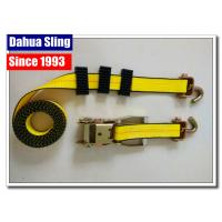 China Yellow Tire Tie Down Straps , 2 X 27' Flat Hook Ratchet Straps For Trucks on sale
