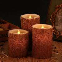 China Set of 3 Bark Simulation Pillar LED Candles with 10-Key Remote and Cycling 24 Hours Timer wholesale