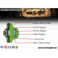 China Green LED Mining Headlamp 6.4 Ah with OLED screen with PP meterial wholesale
