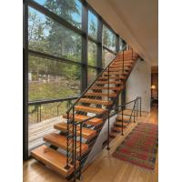 China Durable Solid Wood Straight Flight Staircase 1000-150mm Width With Steel Railing wholesale