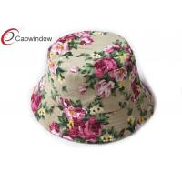 China Women Fashion Floral Fishing Bucket Hat With Rope Hold And Plastic Button wholesale