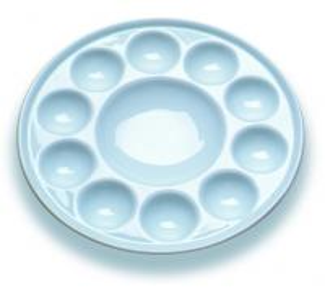 China 10 Wells Paint Mixing Palette Art Paint Set , Round Porcelain Watercolour Palette wholesale
