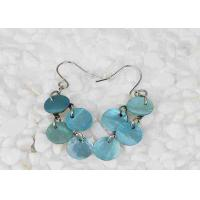 China Unique Design Mother Of Pearl Jewelry Earrings Blue Colour Fish Hook Style wholesale
