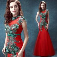 China Red Crepe And Green Beading Traditional Gorgeous Evening Dress TSJY129 wholesale